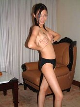 Perky and flat-chested Asian GF showing off her frail naked body to you
