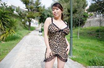 Panties-wearing brunette Latina gets seduced by her boyfriend outdoors