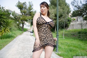 Leopard print loving brunette girlfriend teasing her pussy with her own panties