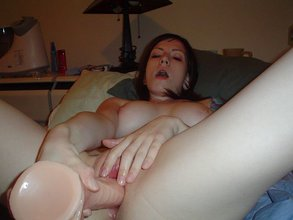 Pale brunette GF riding a suction cup dildo, getting covered in tape and fucked