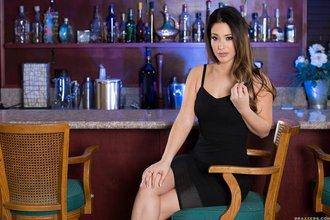 Black dress wearing brunette wife slowly stripping inside of a fancy bar
