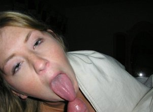 Blond-haired beauty with thick thighs gets face-fucked by a hung dude