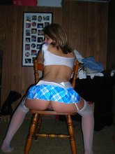 White stockings blond-haired hottie flashing her juicy teen pussy