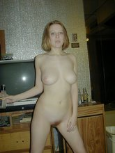 Blue panties blond-haired hottie flashes that pretty pussy of hers