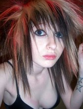 Messy hairdo emo teen with multicolored hair and obvious daddy issues
