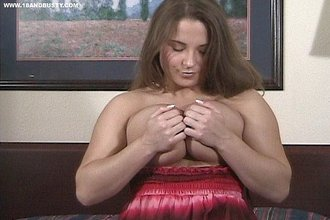 Pudgy brunette with a sexy dress finally gets naked to masturbate