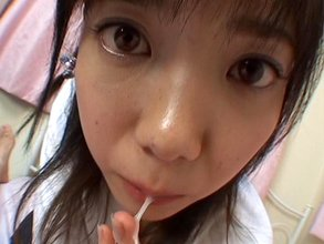 Several dark-haired Asian beauties sucking cocks and drooling like crazy