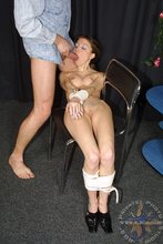 Bondage-addicted young girl chokes on that fat cock