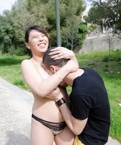 Panties-wearing brunette Latina gets seduced by her boyfriend outdoors