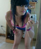 Dark-haired teen girls posing, sexy emo beauties showing their tits
