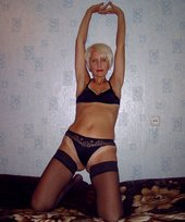 GILF blonde in black stockings showing her leathery mature body for you