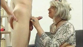 Horny blond-haired mature getting fucked by a youthful and trendy stud