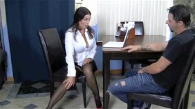 Black stockings brunette getting her sexy legs fucked by a kinky slave