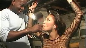 Mesh bodysuit brunette getting double teamed by two big-dicked black dudes