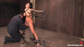 Busty dark-haired girlfriend experiences bondage and tit torture