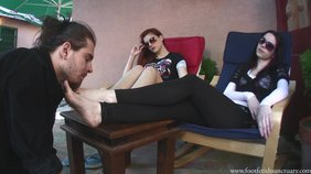 Horny girlfriends showing their feet in a fetish scene