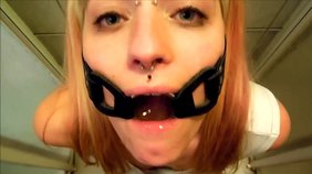 Gagged teen slut is eager to drink it and get fucked hard