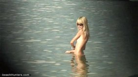 Fair-haired hoe shows her body while in the water