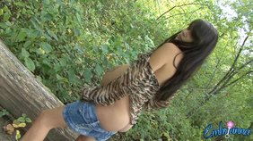 Inked-up pregnant beauty teasing you in the woods