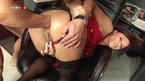 Stockings-clad brunette fisting her own asshole before taking boyfriend's cock