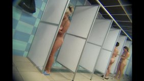 Blond-haired amateur loves showering with other bitches in public